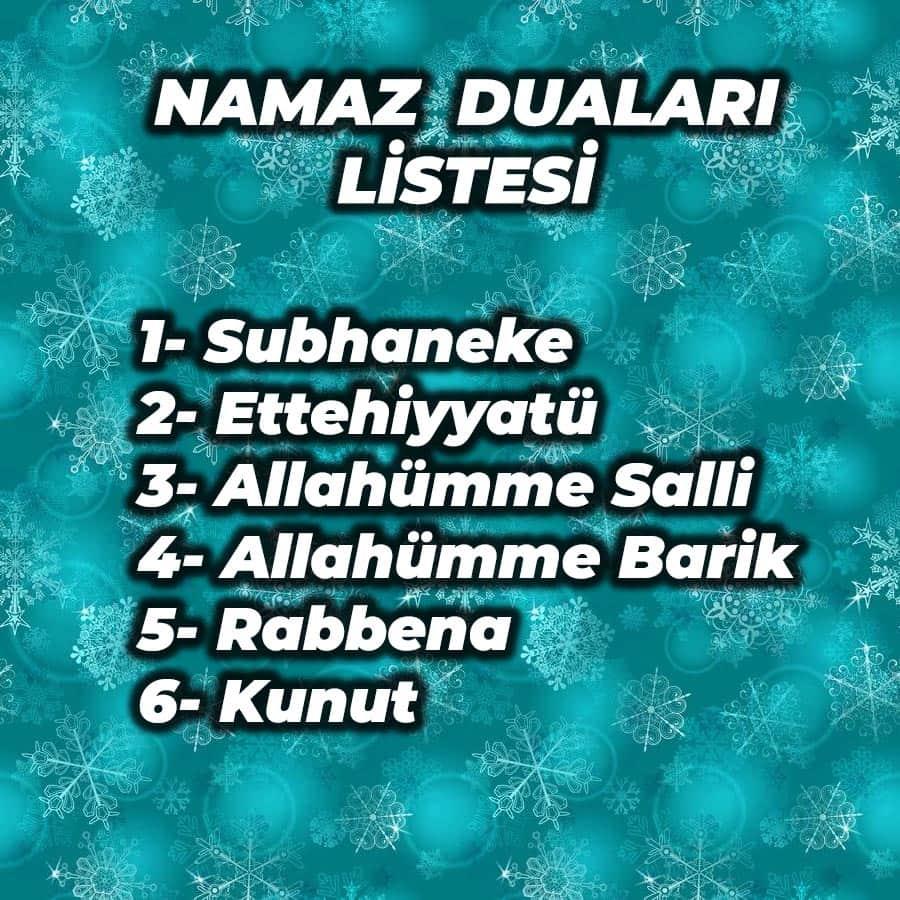 namaz duaları listesi