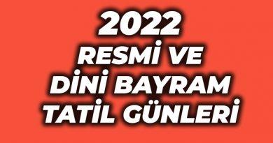2022 resmi tatil günleri